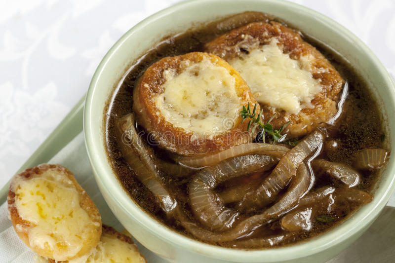 French Onion Soup. With cheesy croutons stock image