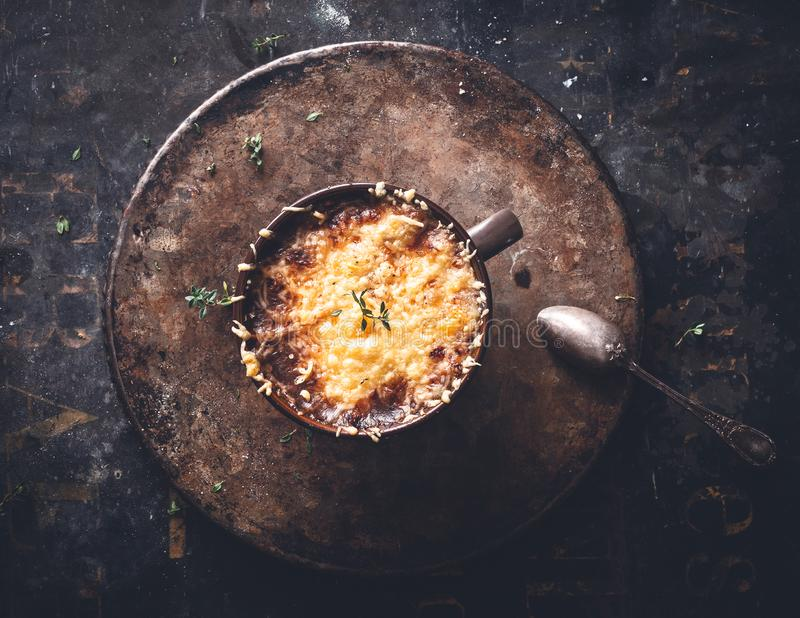 French Onion Soup with Gratined Cheese, Winter Food. royalty free stock photography