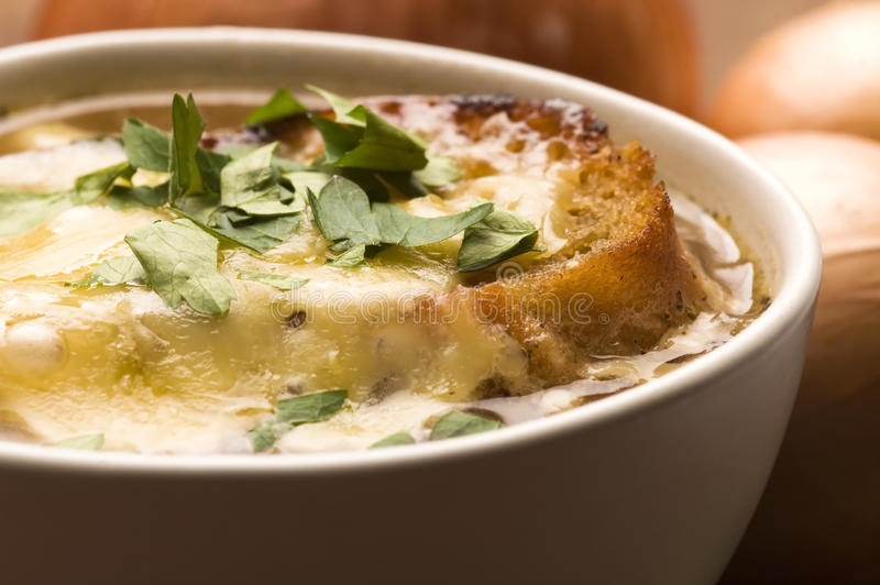French onion soup with ingredients royalty free stock image