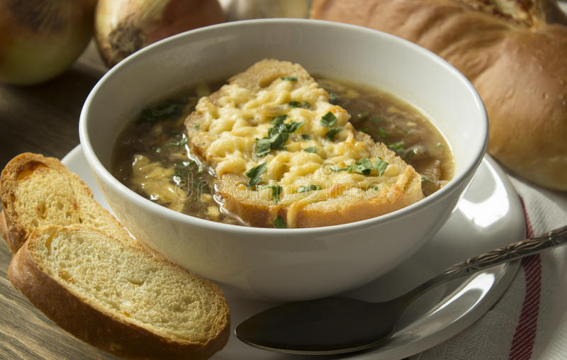 French onion soup. With ingredients stock images