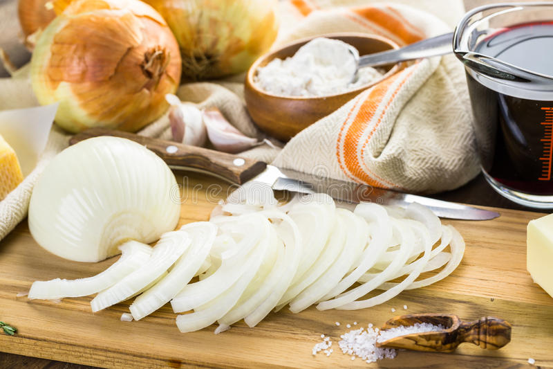 French Onion Soup. Ingredients for making French onion soup stock photography