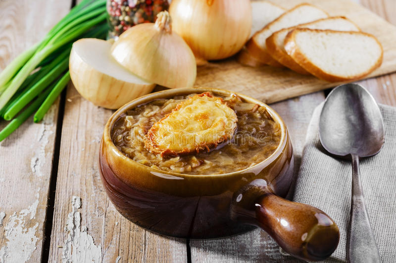 French onion soup. With toast royalty free stock image