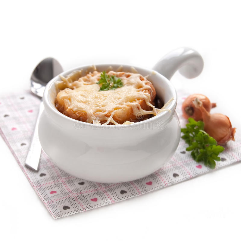 French onion soup. In the white bowl stock image