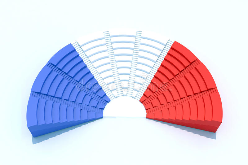 French parliament. 3d parliament with french flag colors vector illustration