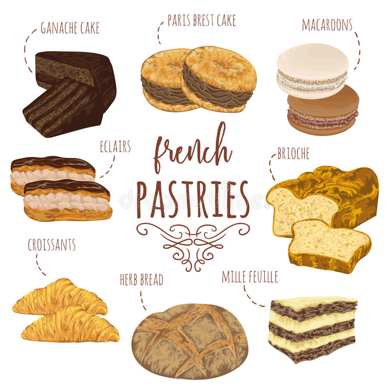 Free French Pastries Collection. Brioche, Macaroons, Croissants, Herb Bread, Eclairs, Paris Brest, Ganache, Mille Feuille Cakes. Royalty Free Stock Images - 86364839