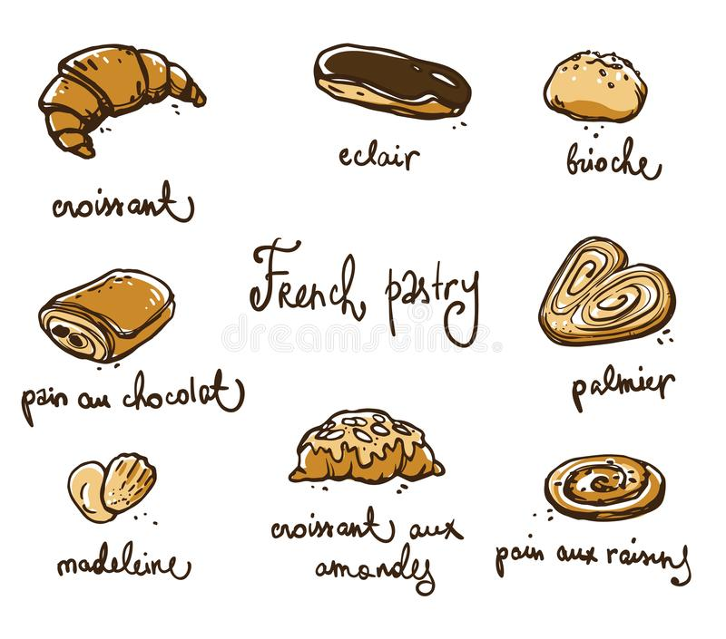 French pastry. Traditional baked desserts. Vector sketch. Hand drawn vector illustration
