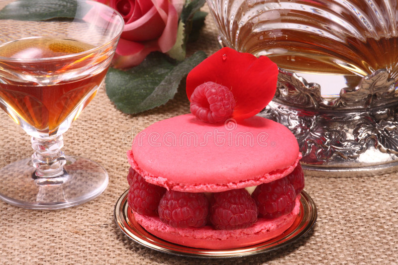 French Pastry And Wine Stock Photos