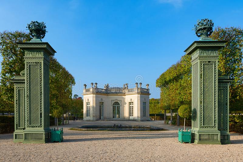 The French Pavilion in the Trianon Estate in Versailles. The French pavilion built for King Louis XV and Madame de Pompadour by Ange-Jacques Gabriel in the royalty free stock images