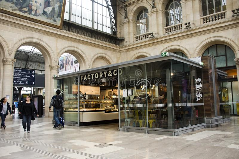French people and foreigner travlers buy and use service in coffee shop at Gare de Paris-Est or Paris Gare de l`est. PARIS, FRANCE - SEPTEMBER 7 : French people stock photos