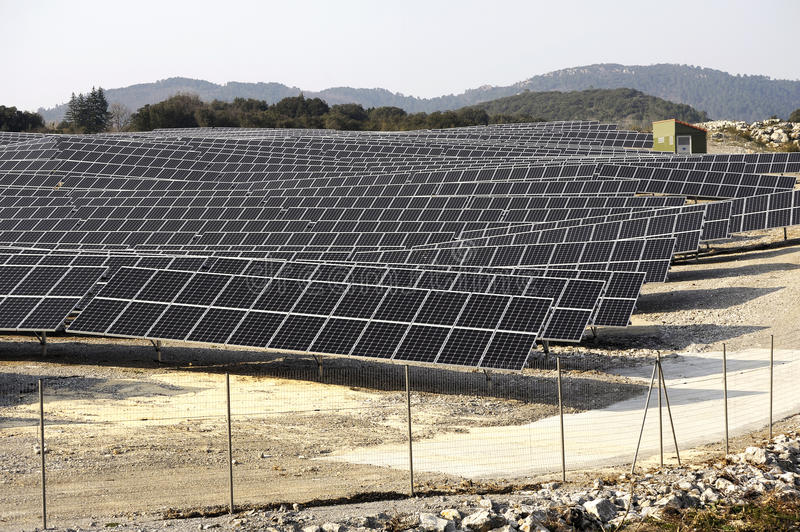 French photovoltaic solar plant. In the Gard department in Ales royalty free stock photo