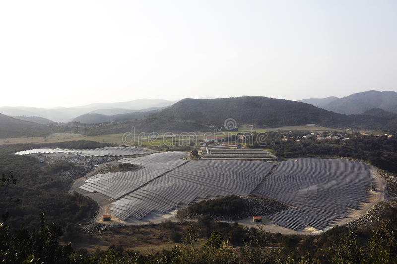 French photovoltaic solar plant. In the Gard department in Ales royalty free stock photography