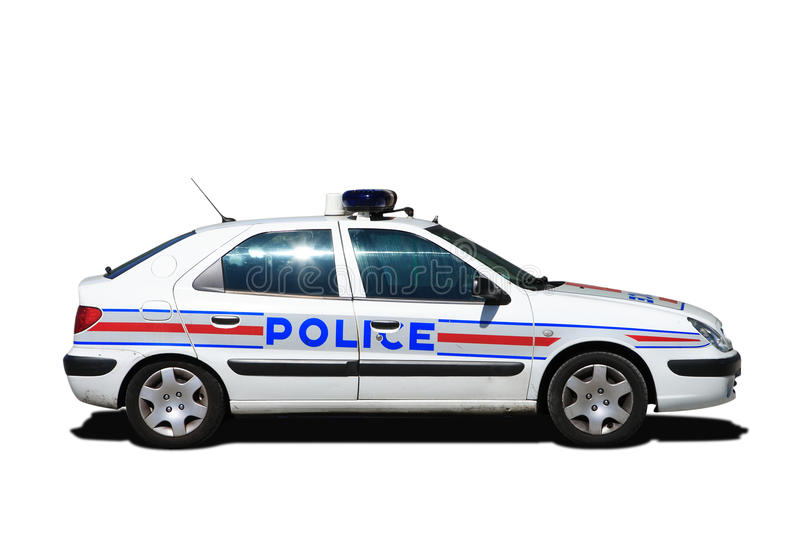 French police car. Side of French police car royalty free stock photography