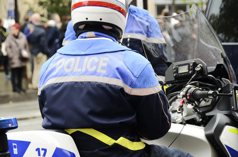 French policeman motorcyclist. Guarding the city stock image