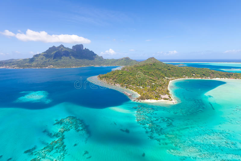 French polynesia from helicopter stock images
