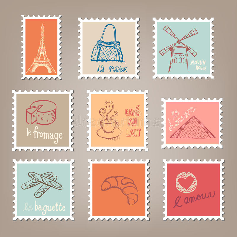Download French Postage Stamps stock vector. Image of element - 28941345