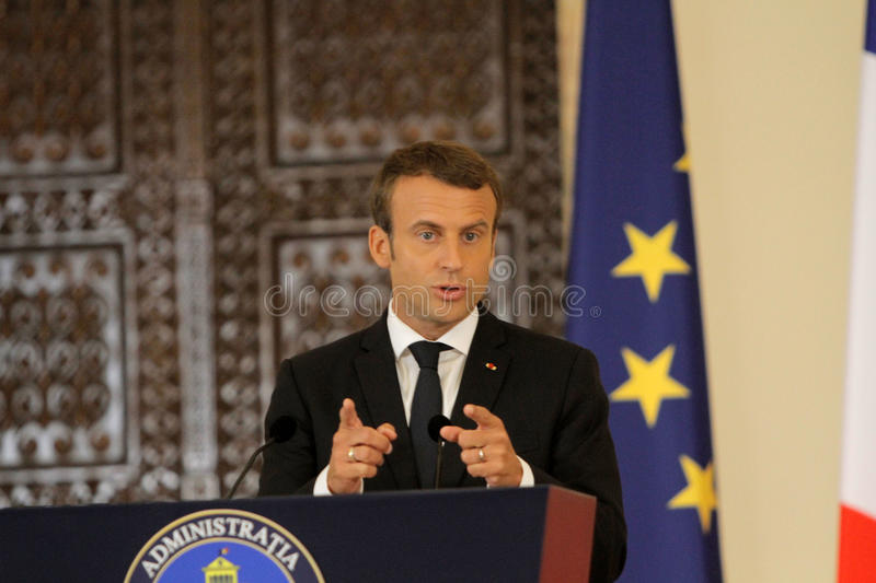 French President Emmanuel Macron. BUCHAREST, ROMANIA - August 24, 2017: French President Emmanuel Macron speaks during the press conference with his Romanian stock photos
