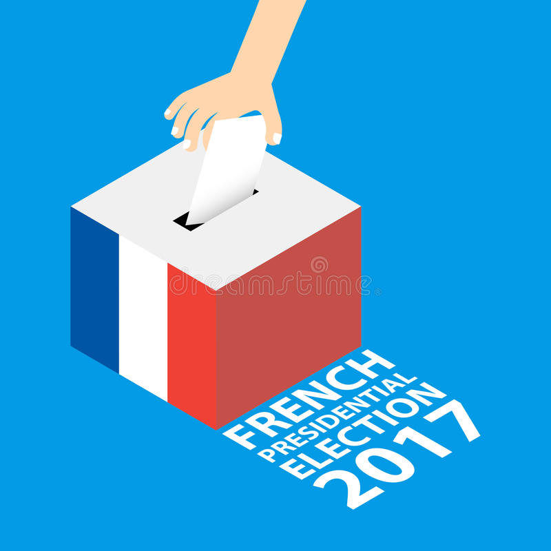 French Presidential Election 2017. Vector Illustration Flat Style - Hand Putting Voting Paper in the Ballot Box royalty free illustration