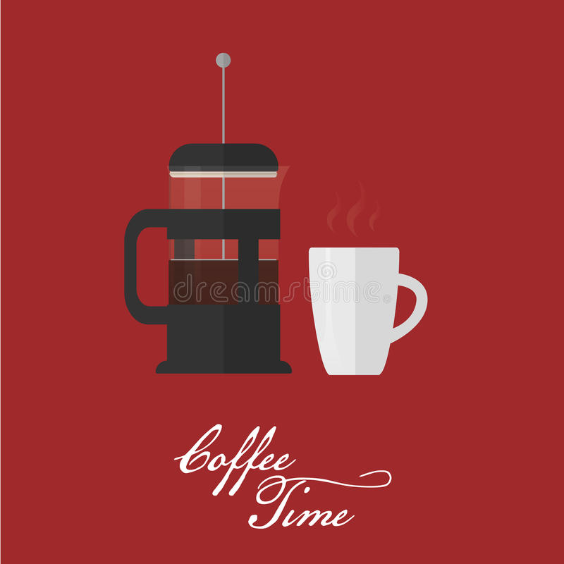 French press and coffee cup. Flat style vector illustration