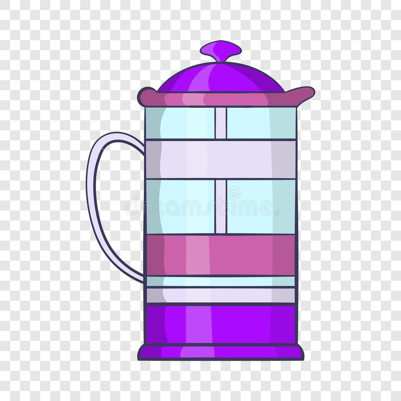 French press coffee maker icon, cartoon style. French press coffee maker icon in cartoon style on a background for any web design vector illustration