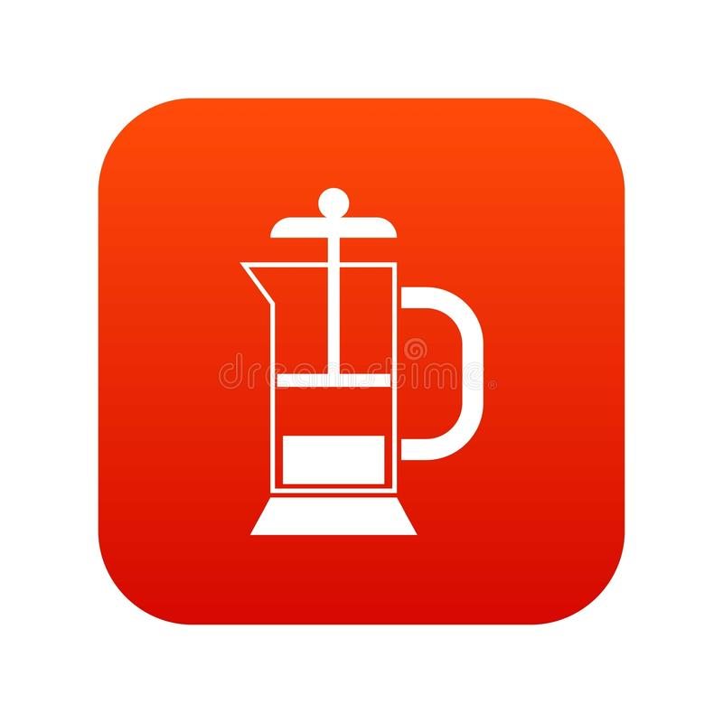 French press coffee maker icon digital red. For any design isolated on white vector illustration vector illustration