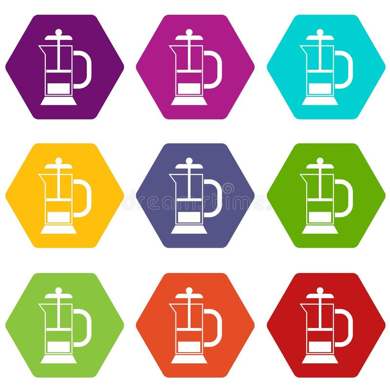 French press coffee maker icon set color hexahedron. French press coffee maker icon set many color hexahedron isolated on white vector illustration vector illustration
