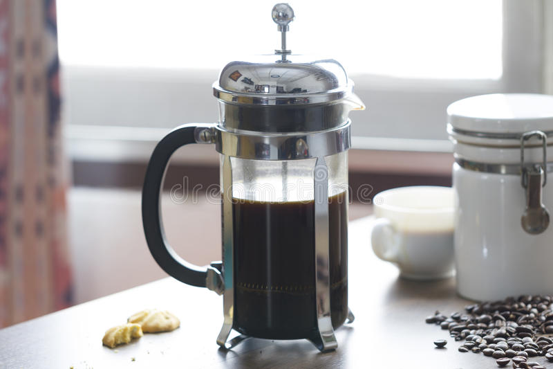 French press coffee maker royalty free stock image