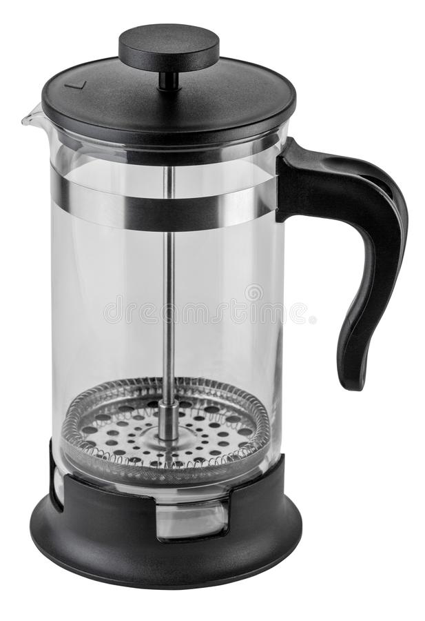 French Press Coffee or Tea Maker isolated on white background with clipping path. royalty free stock image