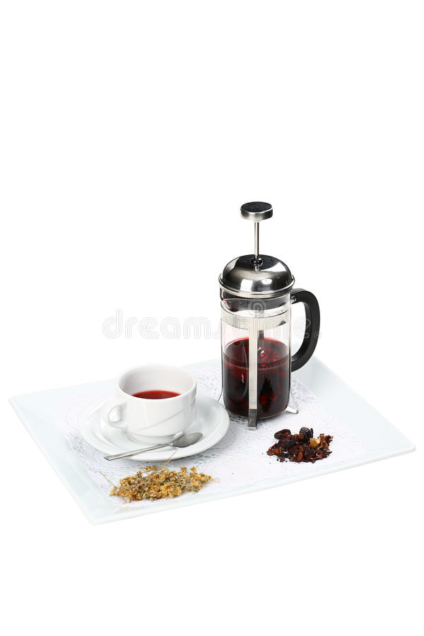French-press with green tea and cup royalty free stock image