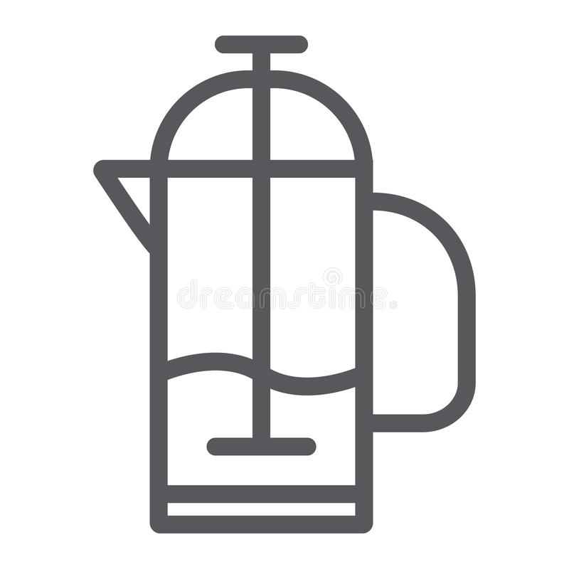 French press line icon, kitchen and drink, pot sign, vector graphics, a linear pattern on a white background. vector illustration