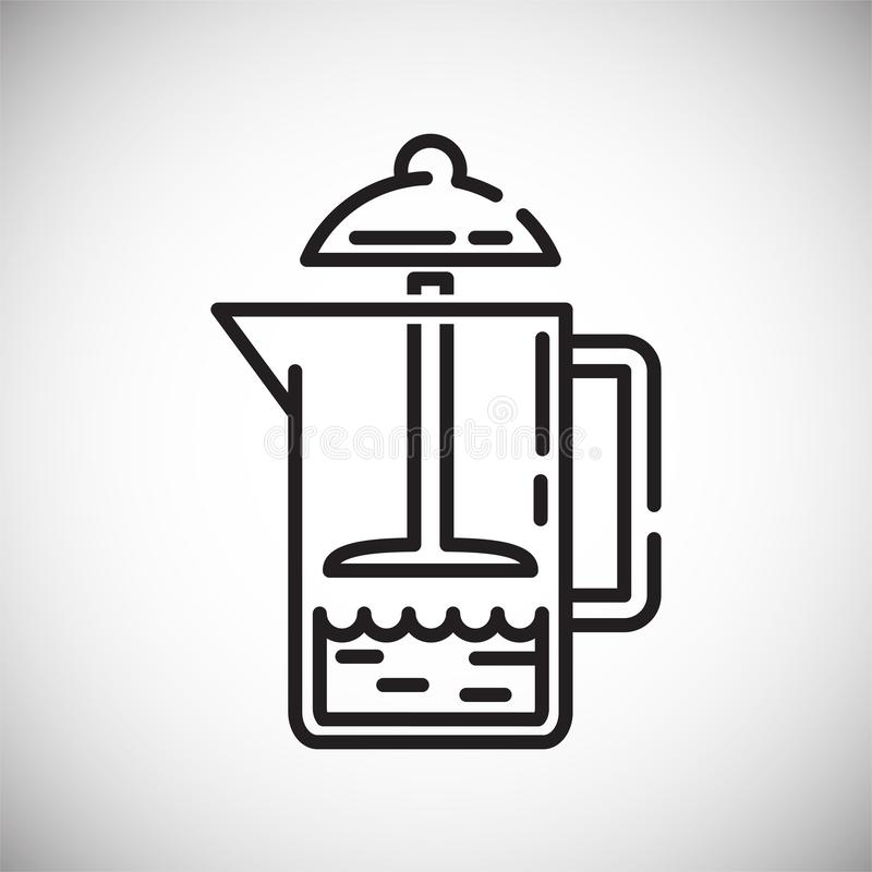 French press outline icon on white background for graphic and web design, Modern simple vector sign. Internet concept. Trendy royalty free illustration