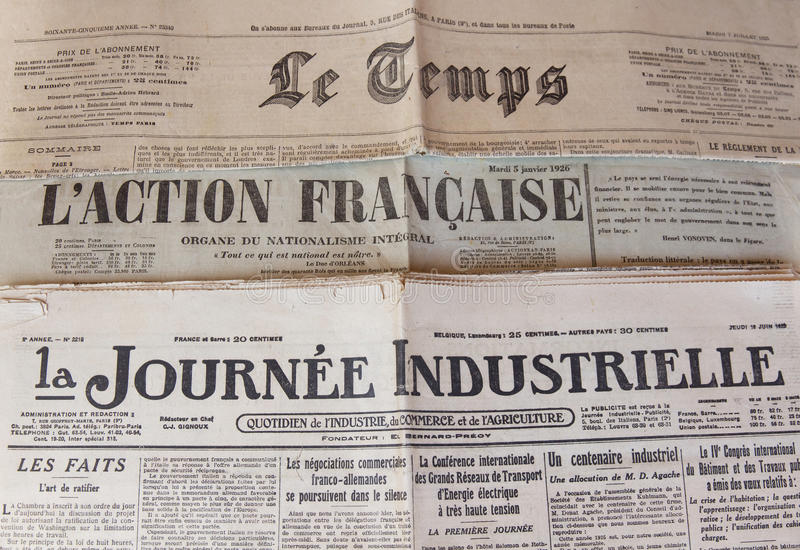 French Press of the 20s of XX century. Headers headline three French tabloid newspapers of the 20s Twentieth Century royalty free stock photo