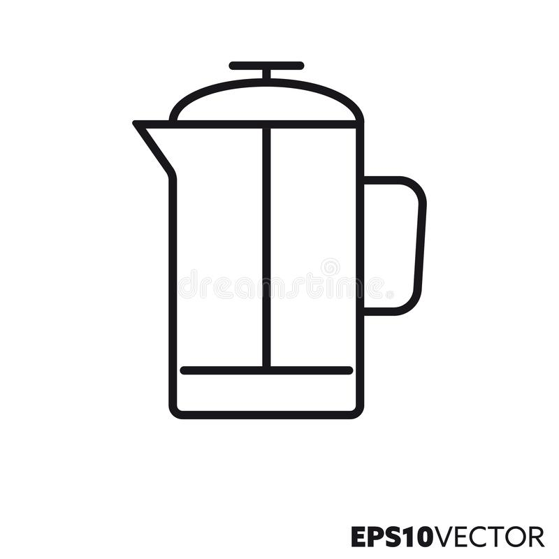 French press vector line icon vector illustration