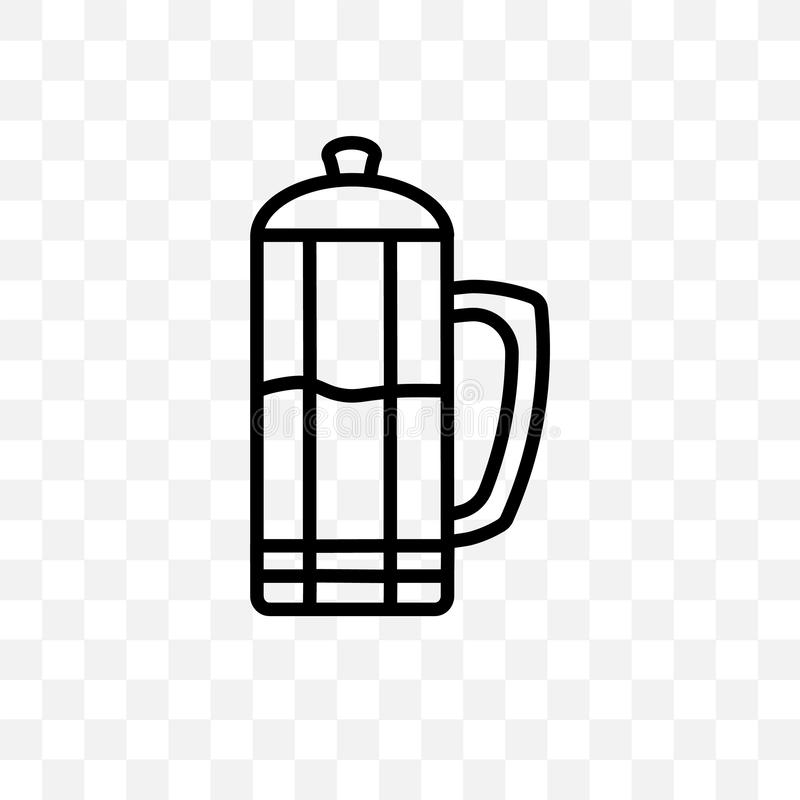 French press vector linear icon isolated on transparent background, French press transparency concept can be used for web and mobi vector illustration
