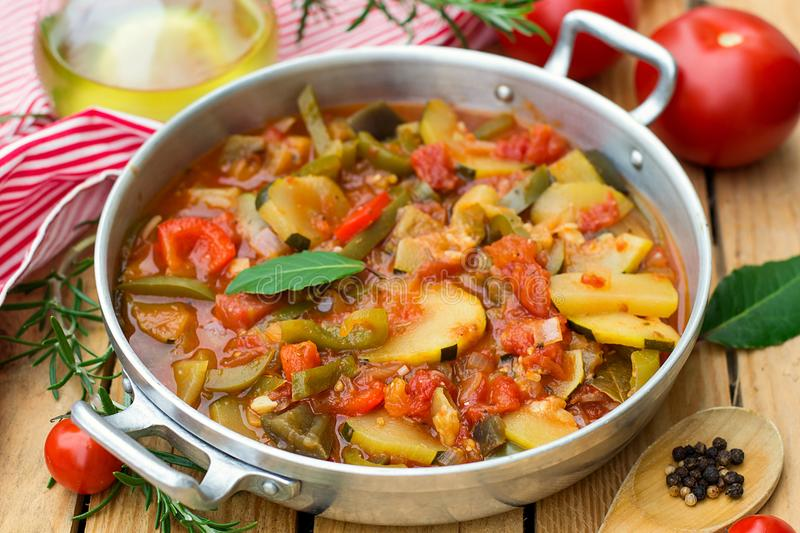 French Provencal stewed vegetable dish Ratatouille. In pot stock image