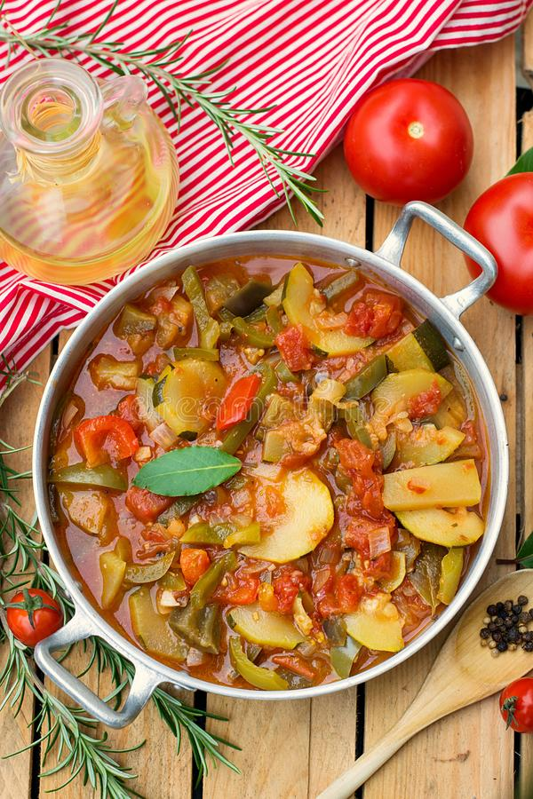 French Provencal stewed vegetable dish Ratatouille. In pot stock photo