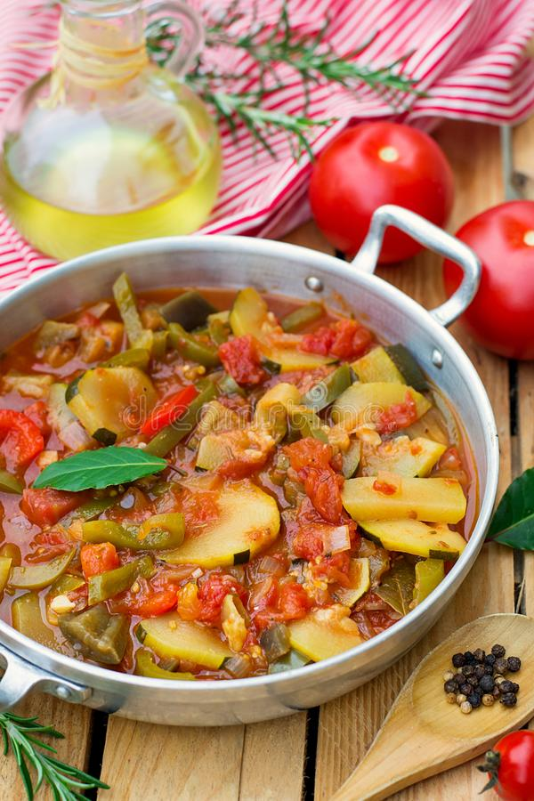 French Provencal stewed vegetable dish Ratatouille. In pot stock photos