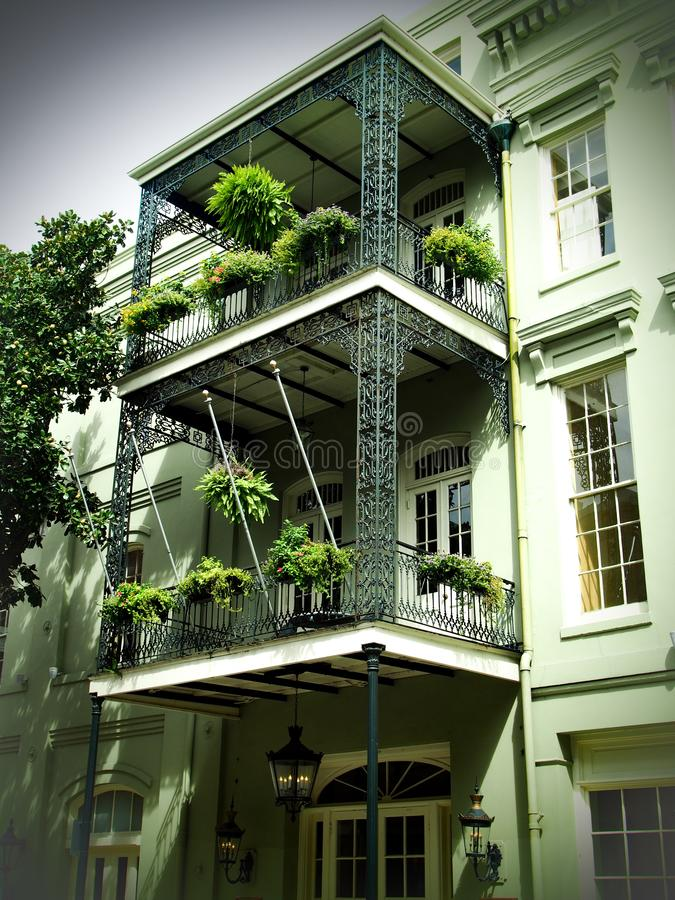 French Quarter Balconies in New Orleans stock photography