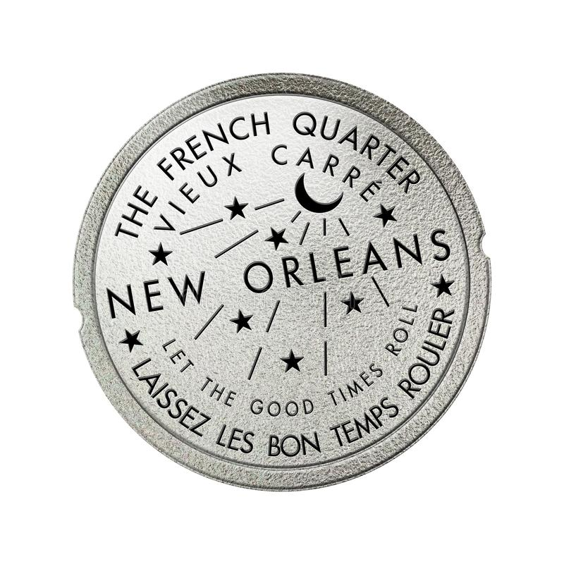 Free French Quarter New Orleans Louisiana Water Meter Sewerage Cover Stock Photo - 154452460