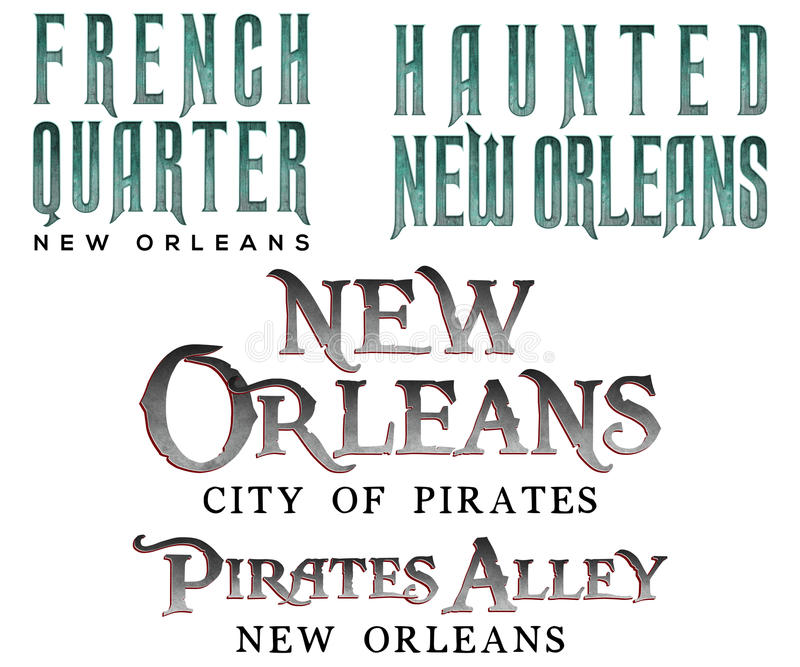 French Quarter New Orleans Titles royalty free illustration