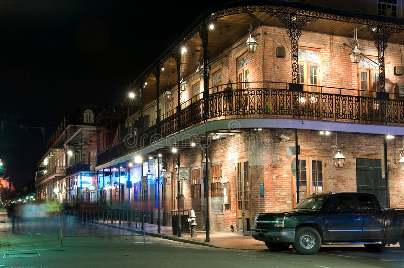 French Quarter at night stock image