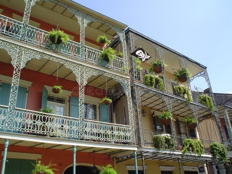 French Quarter Wrought Iron Balcony stock photo