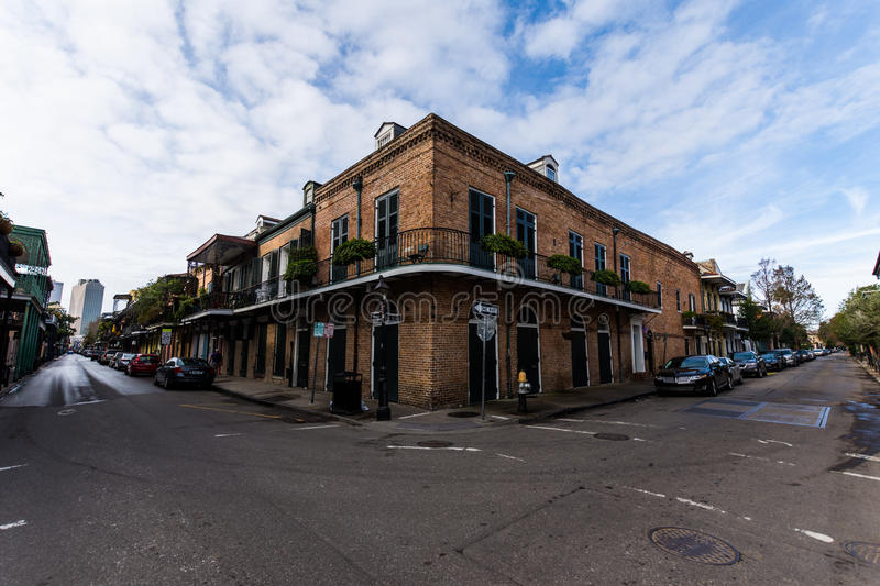 Downtown French Quarters in New Orleans, Louisiana on a Cloudy D royalty free stock photos