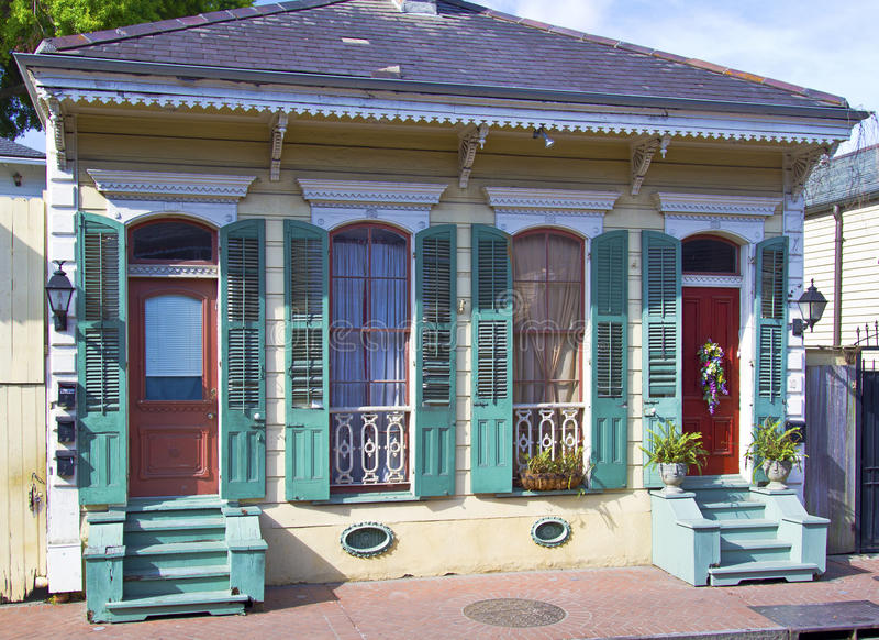 French Quarters style bungalow home stock photography