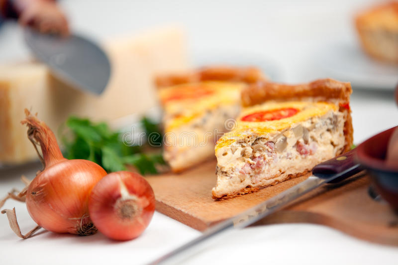 Download French Quiche Lorraine stock image. Image of yellow, plate - 16539201