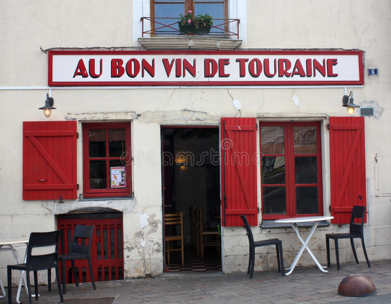 French restaurant at Azay-le-Rideau. Picture taken at Azay-le-Rodeau. French restaurant in a region famous for its white wine and the Loire Valley Castles stock photography