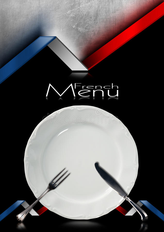 French Restaurant Menu Design. Black and metallic background with French flags, empty white plate with silver cutlery, fork and knife. Template for a French food stock illustration