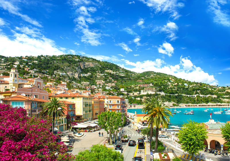 French reviera, mediterranean sea landscape. French reviera, view of luxury resort and bay of Villefranche-sur-Mer near Nice and Monaco. mediterranean sea stock photo