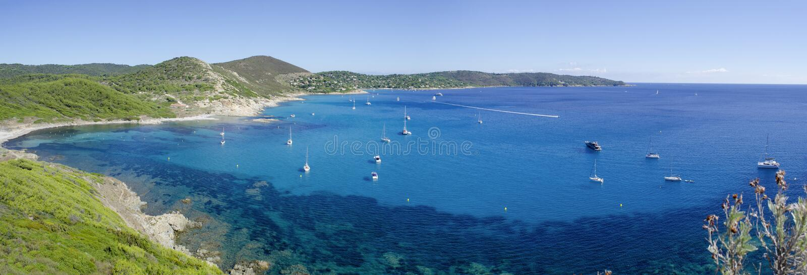 French riviera beaches, near to Saint-tropez. Panorama of Cap taillat beaches, near to Saint-tropez, french riviera stock photography