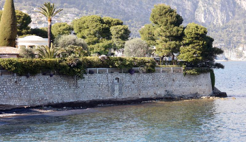 Nice French riviera, Côte d`Azur, mediterranean coast, Eze, Saint-Tropez, Cannes and Monaco. Blue water and luxury yachts. French riviera, Côte d`Azur royalty free stock image