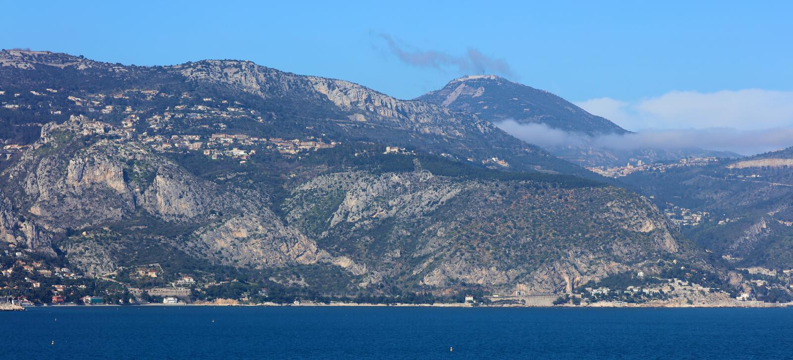 Nice French riviera, mediterranean coast, Eze, Saint-Tropez, Cannes and Monaco. Blue water and luxury yachts. French riviera, Côte d`Azur, mediterranean royalty free stock images